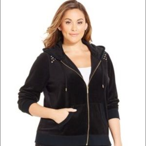 Michael Kors Black Velour Rhinestone hoodie B77