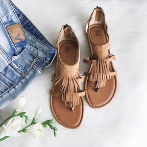 bc footwear • fringe thong sandals