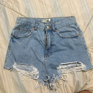 Topshop Moto High waisted distressed jean shorts