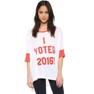 Wildfox I voted oversized tee in red and white
