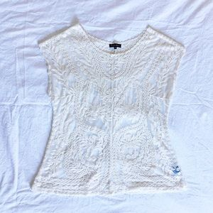 Large Fit White Lace Blouse