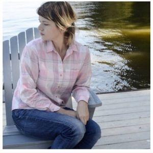 Diane Von Furstenberg Pink Plaid Button Down Shirt