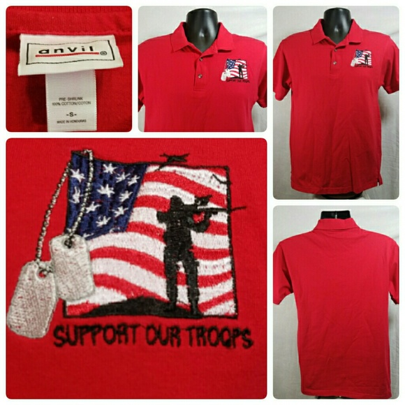 Anvil anvil support our troops red polo shirt size s for Red support our troops shirts