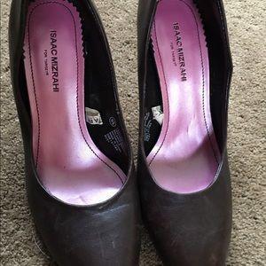Brown pointed toe heels