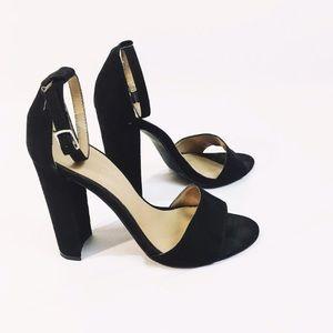 NASTY GAL black suede strappy heel sandal