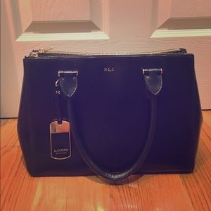 Lauren Ralph Lauren Leather Double Zip Satchel