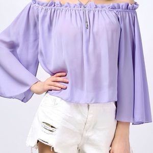 NWOT Ruffle Off The Shoulder Top