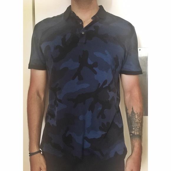 98fda590d Valentino Shirts | Bonded Camo Polo Navy | Poshmark