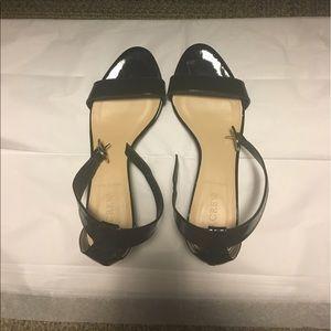 J Crew patent leather mini wedge sandals