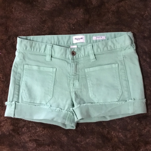 Madewell Pants - Madewell Green Denim Cuffed Shorts