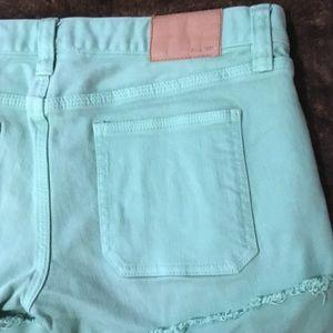 Madewell Shorts - Madewell Green Denim Cuffed Shorts