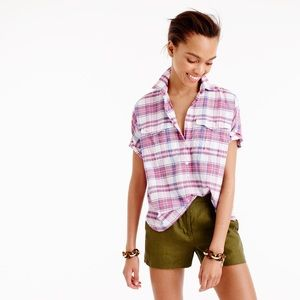 J. Crew short sleeve popover in vintage plaid