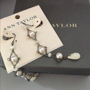 Dangle white pearl earrings