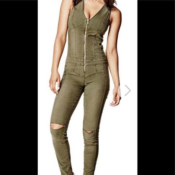 519d6915fa02 Guess Pants - GUESS Maxine Zip-Up Jumpsuit