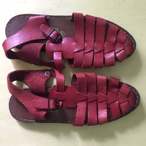 Red Leather Fisherman Sandals