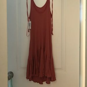 NEW-ZARA - ribbed scoop neck rust pink dress -S