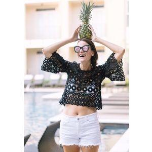 Style Mafia crochet crop top flare sleeves