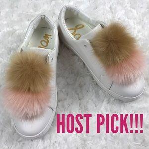 HP Sam Edelman Leya Faux Fur Pom Pom White Sneaker