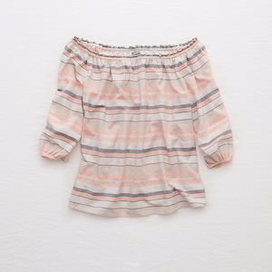 Tops - | striped off the shoulder summer top |