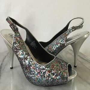 City Streets glitter heels