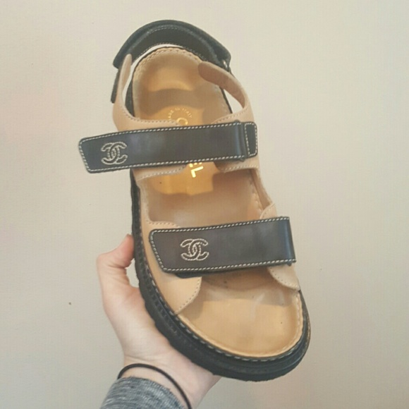 a15fdb55a9da1 CHANEL Shoes - CHANEL SIZE 8 TEVA STYLE LEATHER SANDALS