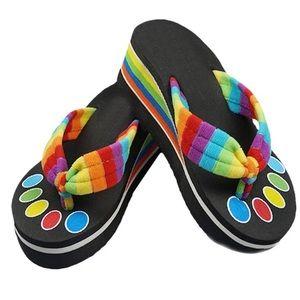 Shoes - 🌈Rainbow Platform Flip Flops🌸