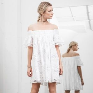 JOA Eyelit Lace Off The Shoulder Dress
