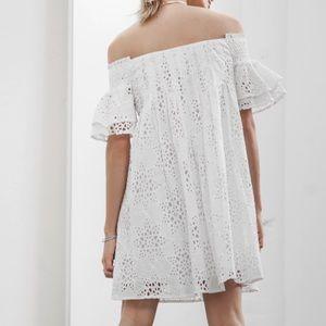 Just One Answer Dresses - JOA Eyelit Lace Off The Shoulder Dress