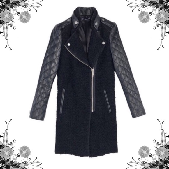 806ec326 Zara Jackets & Coats | Black Wool Boucle Quilted Leather Jacket ...