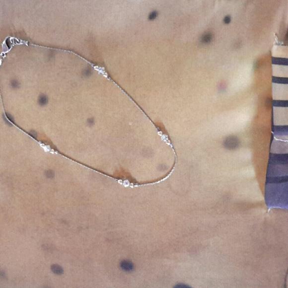 Jewelry Sterling Silver Gold Swarovski Ankle Bracelet Poshmark