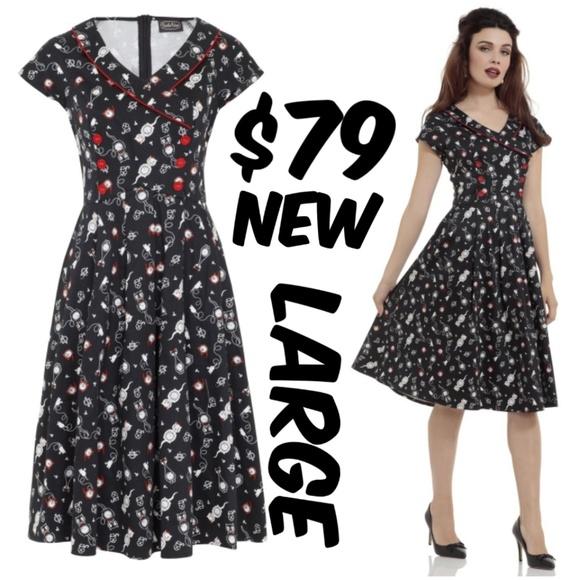 Voodoo Vixen Pin Up Kitty Dress 50 Girl Dress L