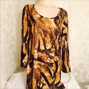 2X Animal print dress with bell sleeves. B17