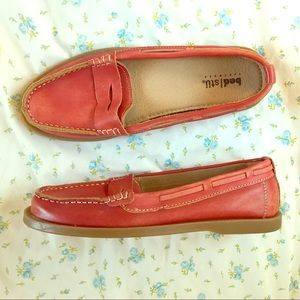 Bed Stu red leather loafers