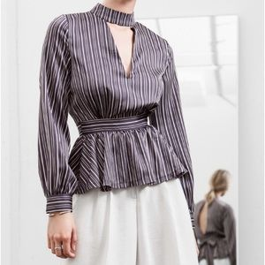 J.O.A. FRONT & BACK CUT OUT STRIPE BLOUSE