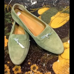 J.Crew green leather loafers