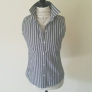 Stripes Sleeveless Button Down