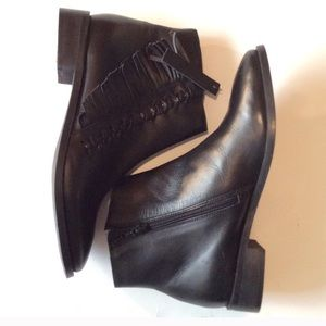 Topshop low heel soft leather fringe ankle booties