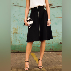 Exposed Zipper Midi Skirt