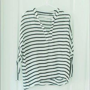 Potters Pot black & white striped blouse