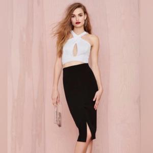 Slit Front Pencil Skirt