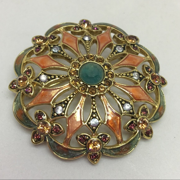 6dd5f48ba41 Vintage Monet Gold, Enamel & Rhinestone Pin. M_595fffbda88e7dcf9f00a7ec.  Other Jewelry ...