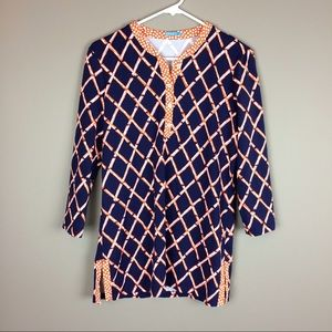 J. McLaughlin navy and orange tunic top