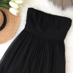 J. Crew • Black Chiffon Strapless Dress