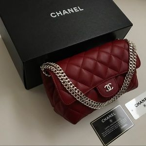 Chanel red quilted flap