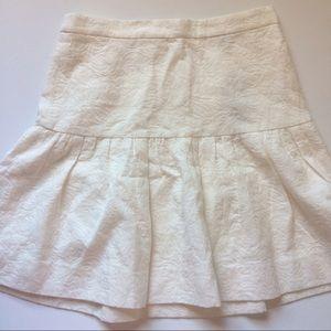 J. Crew Skirts - Jcrew white embroidered flounce peplum skirt