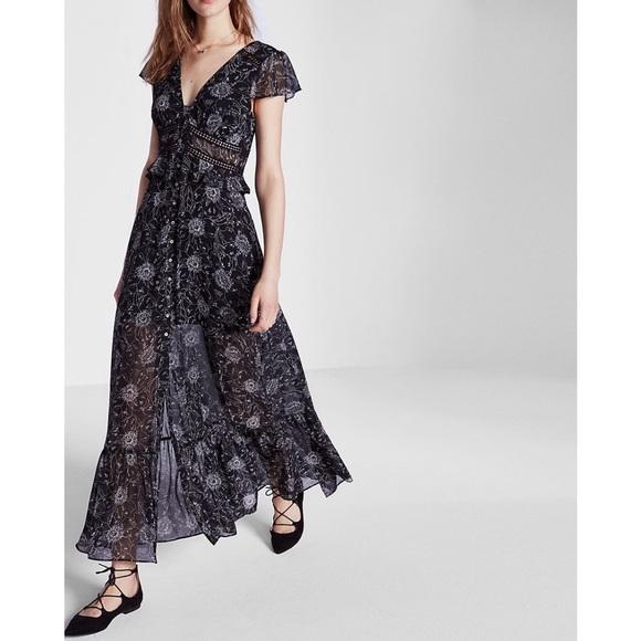 Express Dresses & Skirts - Express floral ladder lace chiffon maxi dress