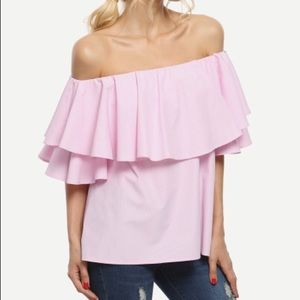 Pink ruffle off the shoulder top NWOT
