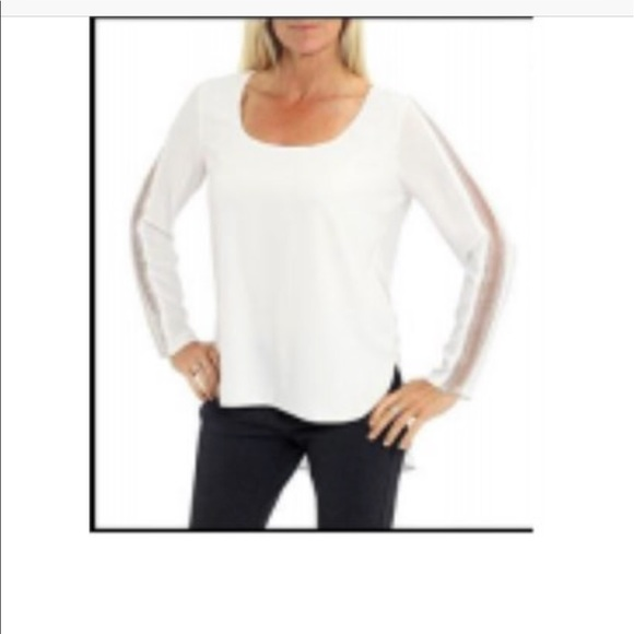 Cartise Tops - Long sleeve white blouse with embellishments arms