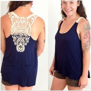 Soft Navy Blue Tank with Crochet Detail Back