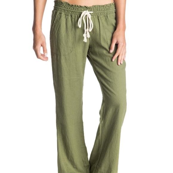 23ea8a9b11 Roxy Oceanside Beach Pants Olive Green Linen XS. M_5960163fbcd4a78b3c00f6fb